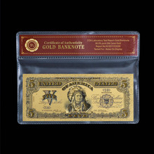 WR 1899 Year Old USD 5 Dollar Bills 24K Gold Banknote Copy Paper Money Birthday Gifts