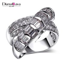 Special Cross Shape Channel Setting CZ Costume Jewelry Cocktail Ring for Women