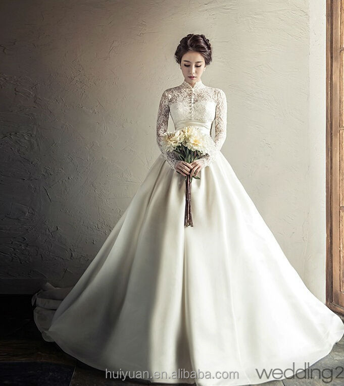 mermaid hollow cap sleeve lace wedding dress with high collar
