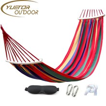Portable Durable Canvas Camping Hammock Thickening Widen Single Swing Bed with Wooden Spreader Bar
