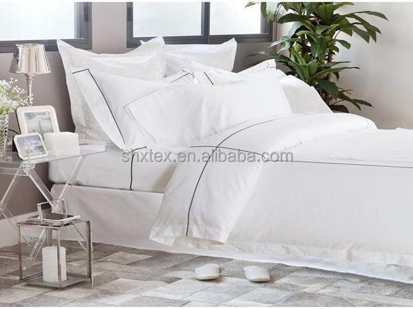 100% cotton fabric/bleached white plain 5 star hotel bed linen set fabric