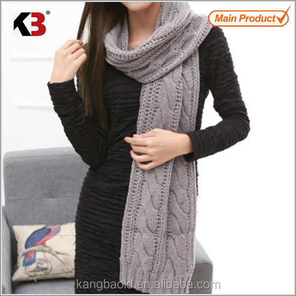 2015 New Products Promotional Lady woolen knitted Scarf Manufacturer