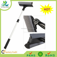 2 in 1 window cleaner, sponge and rubber blade window clean squeegee with telescopic handle