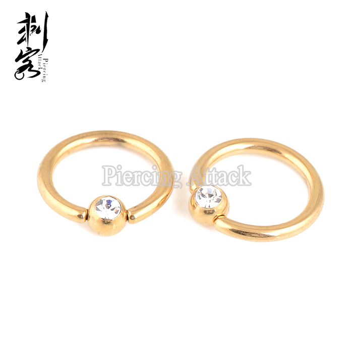 Body Piercing Jewelry Rose Gold Crystal Ball Closure Ring