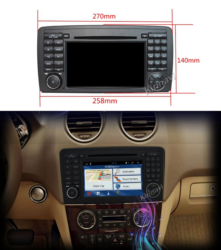 Kirinavi WC-MB7511 android 5.1 car navigation for mercedes for benz ml w164 2005-2012 car dvd gps player wifi 3g playstore