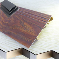 trendy types of aluminum extruder Wood Grain painting aluminum skirting board