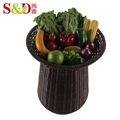 Plastic rattan woven storage shelf display stand for supermarket