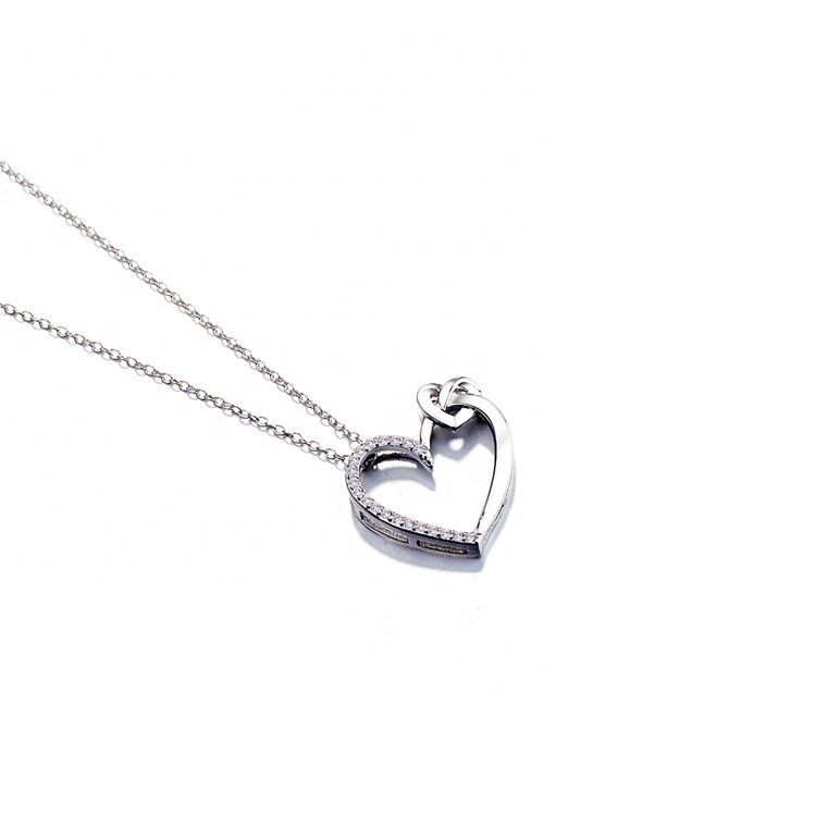 Fine Jewelry 925 Silver Double Heart Pendant