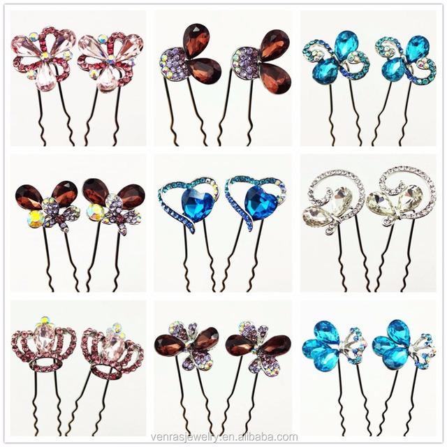 4pcs/ Set Rhinestone Leaf Colors Bridal Crystal Twist Hair Spin Pins Women Fashion Swirl Spiral Hair Jewelry Party Accessories
