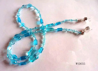 Fresh blue crystal beads eyeglass retainer strap, ethnic braided cord