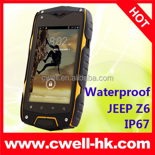 China Jeep Z6 IP67 Waterproof MTK6572 Dual Core 512MB 4GB 4 Inch IPS 5MP rugged smartphone android 3g gps dual sim Unlocked