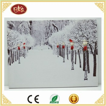 Beautiful Led Light Canvas Painting,Winter Street scenery Light Up Canvas