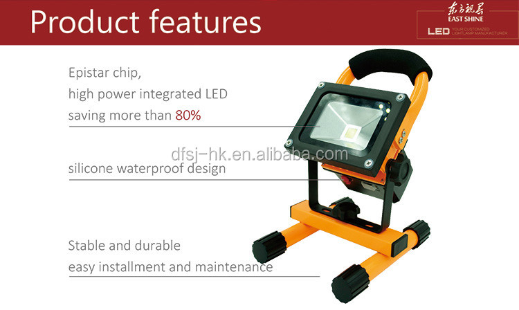 2017 Hot Sale LED Rechargeable Work /Flood Light with CE RoHS Approved IP65 Portable 12V-24VDC 20w,Made in China