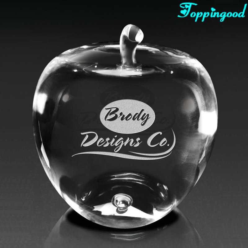 Funny Polished Crystal Apple Paperweight For Christmas Gifts
