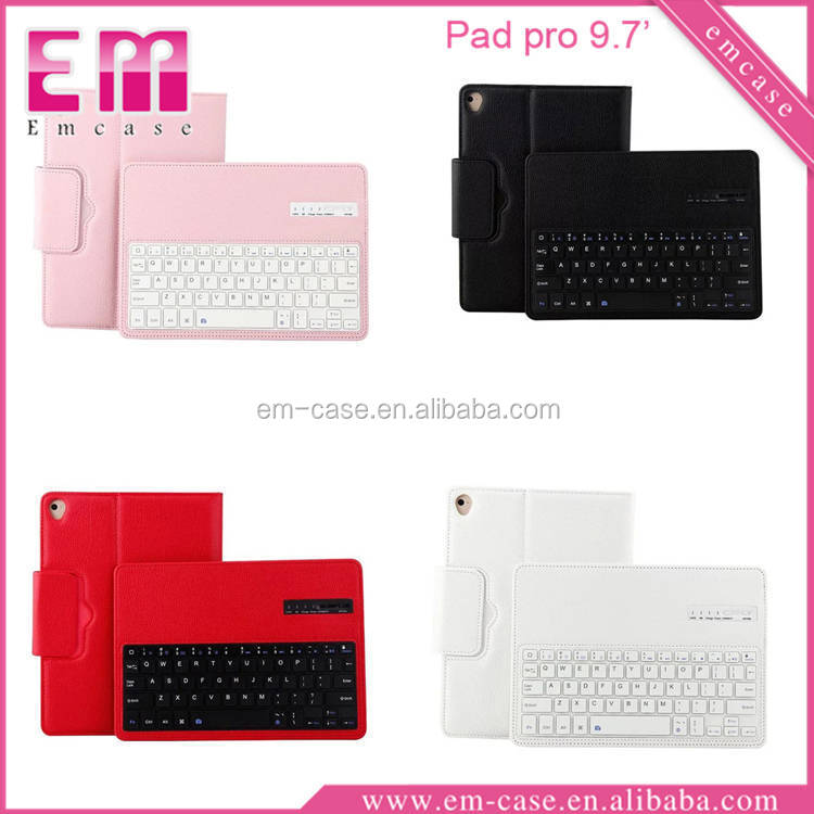 Litchi Pattern Leather Case Full Cover Phone Case For iPad pro9.7 With Portable Keyboard Bluetooth
