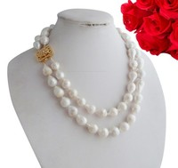 Free delivery 16-18MM huge line 2 South Sea baroque pearl necklace