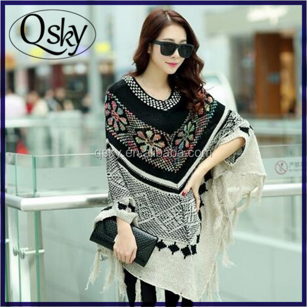 wholesale color tassel loose bat sleeve knit poncho shawl <strong>scarf</strong>