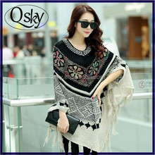 wholesale color tassel loose bat sleeve knit poncho shawl scarf