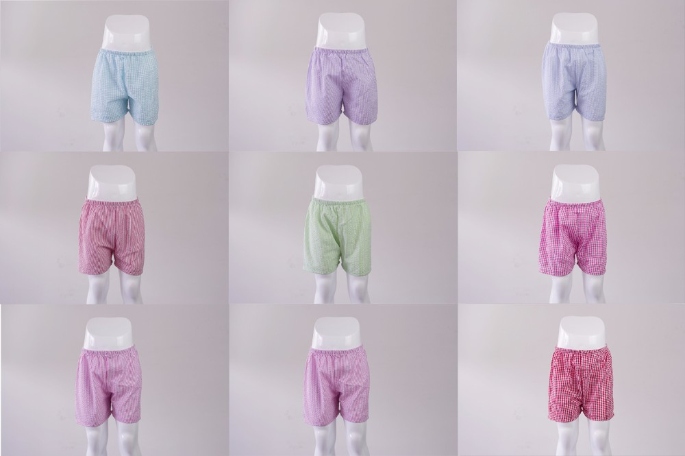 boutique Kids Wear high quality Cheap toddler bulk Elastic Waist Cotton Hot Seersucker shorts