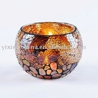 Cylinder Crackle Handcraft Mosaic Glass Candle Jars