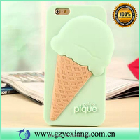 Hot selling 3D melt ice cream cone silicon soft cover case for iphone 5s silicon back case cover