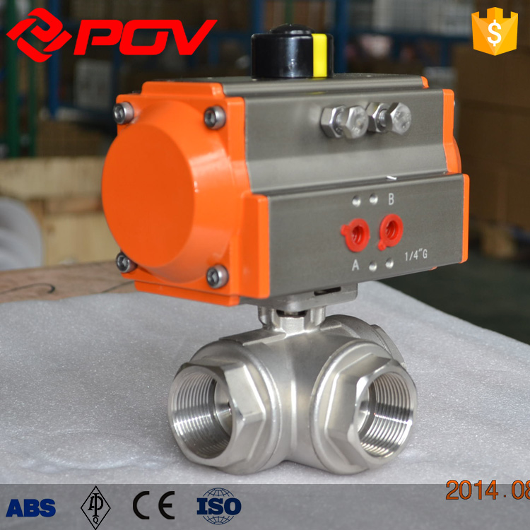 3 way thread pneumatic actuator acid resistant ball valve