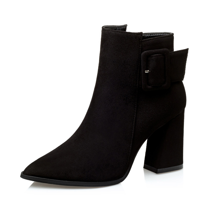 Automn Winter Suede Ankle <strong>Boots</strong> Thick Heel <strong>Boots</strong> Plush Lining Women <strong>Boots</strong> Ladies Shoes