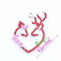 Fashionable Jewelry Chunky Pendants For Kids Handmade DIY Accessories Jewelry Necklace Cartoon Rhinestone Red Heart Pendant