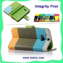 TOP Quality Contrast Color PU Wallet Leather With Card Slot, Cellphone Case For Samsung S4, Case For Samsung Galaxy S4