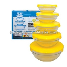 5 pcs glass bowl set decorative clear and colored glass fruit bowl set with lid 5 pcs glass bowl set