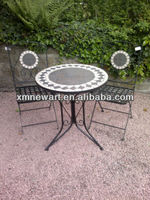 New Designed 100% Handmade inclusive 2 Chairs outdoor mosaic bistro set table