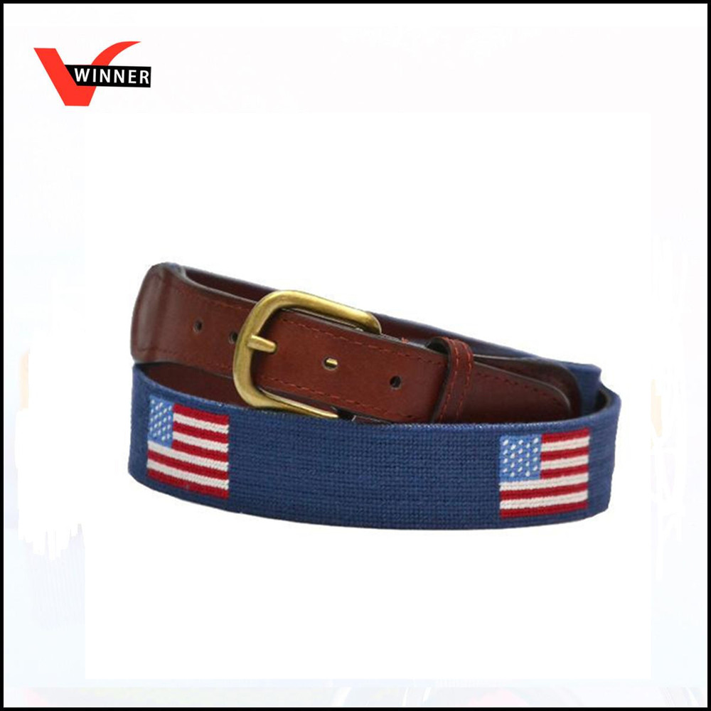 High quality American flag leather needlepoint belt