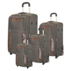 new design stylish pu and polyester travel trolley luggage bag with wheels