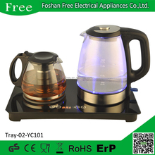 Blue LED light Glass kettle and teapot tea tray set with warmer digital base