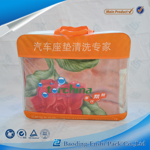pvc and non woven fabric material and car cushion plastic zipper bag