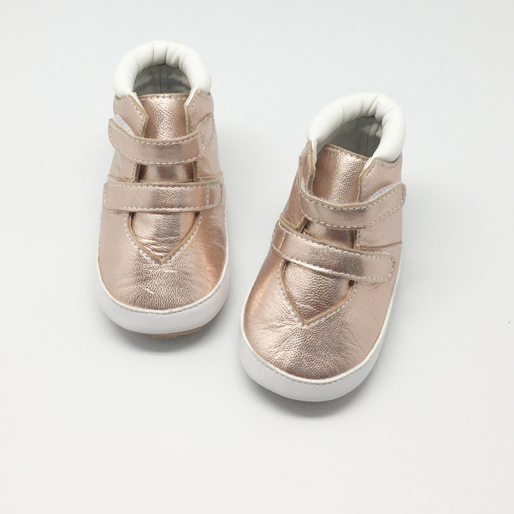 Mid-cut genuine leather baby shoes with rubber sole non-slip