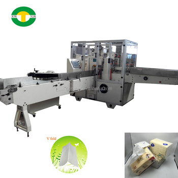 V fold facial tissue paper soft packing machine