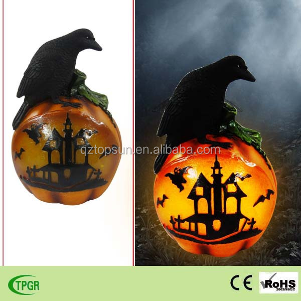 Halloween solar light with crow standing on ball