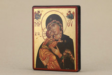 Greek & Russian Orthodox Wooden Icon. Mother God. Eleousa