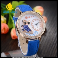 WJ-4559 Fashion & Casual High Quality Round Women Dress Thin Leather Strap Owl Watch