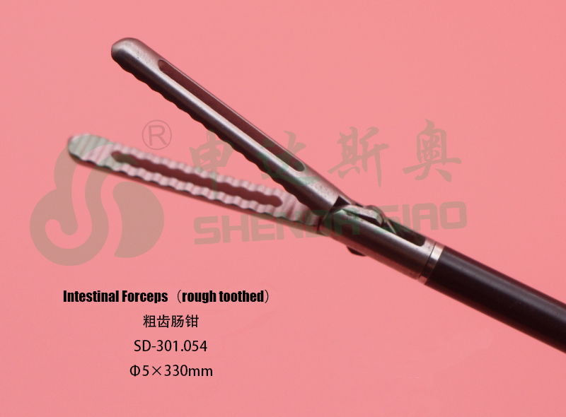 One Year Warranty Different Handle Type Safe and Easy Use Medical/Rough Toothed Intestinal Forceps/ 5*330mm