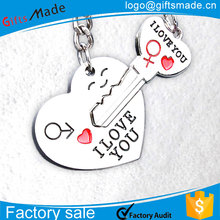 Hot Sale Promotion Love Heart Key Couple Keychain