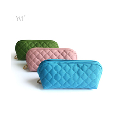 low price quilted fabric microfiber small travel cosmetic pouch bag