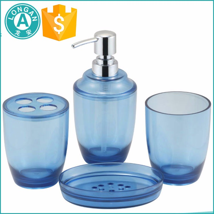 2017 top sale durable 4pcs plastic bathroom set with pump soap dispenser