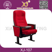Conference Used Modern Comfortable Foldable Fabric Auditorium Chairs With Writing Pad XJ-107