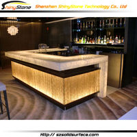 U-shaped golden yellow lighting design artificial marble/stone solid surface juice bar design