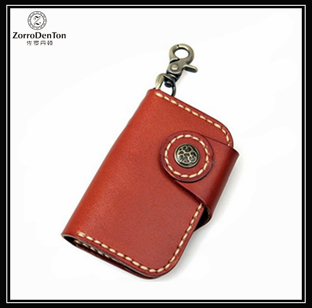 Customized Logo Handmade Metal Leather Key Holder Car Key Ring Wholesale Keychain