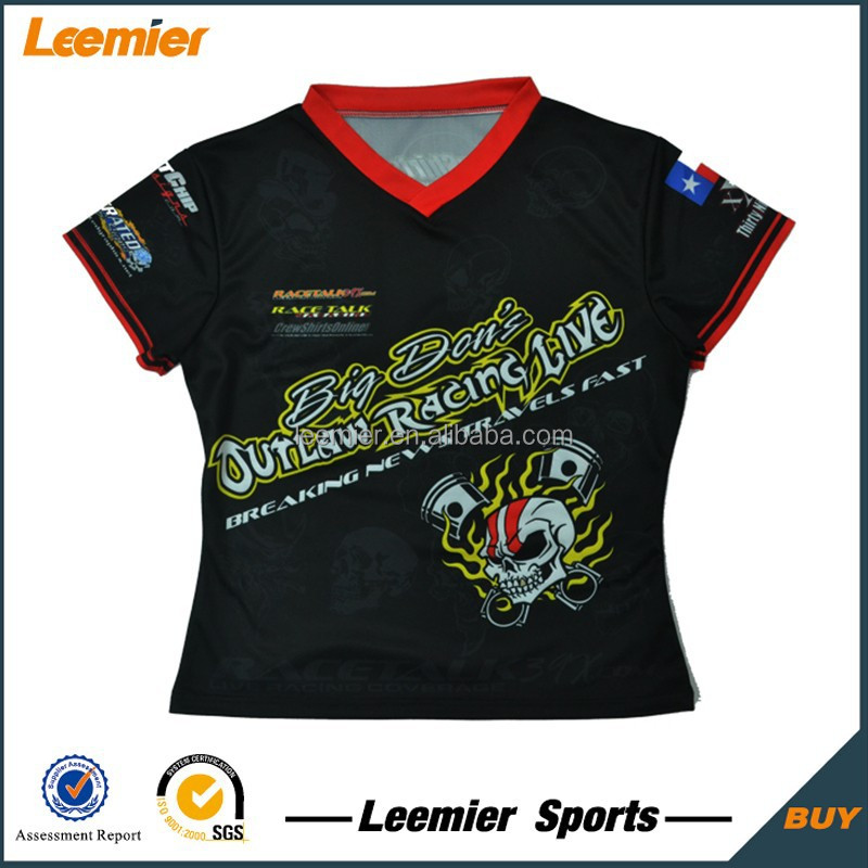 Breathable sublimated custom women sports racing t shirts for Custom racing t shirts