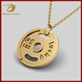 18K Rose Gold Plated Mens Jewelry Wholesale China Custom Weight Plate Stainless Steel Pendant Necklace
