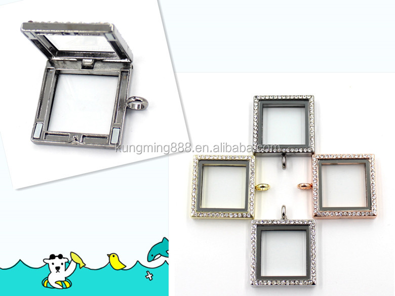 29MM*29MM Square Shape Magnetic Glass Locket With Crystal Jewelry
